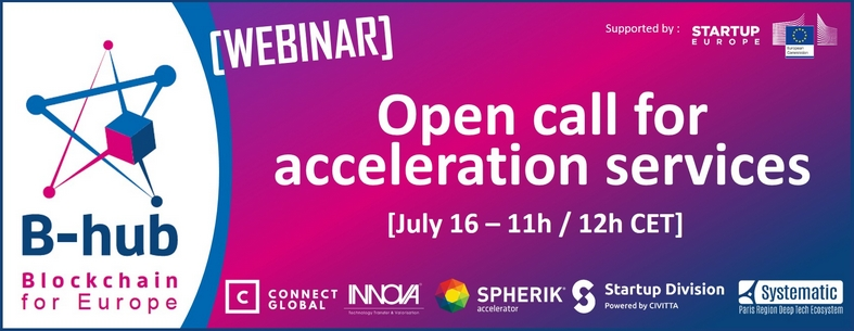 banner for B-hub webinar on open call for acceleration services