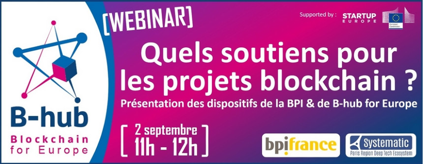 banner for B-hub webinar in France on initiatives to support blockchain projects